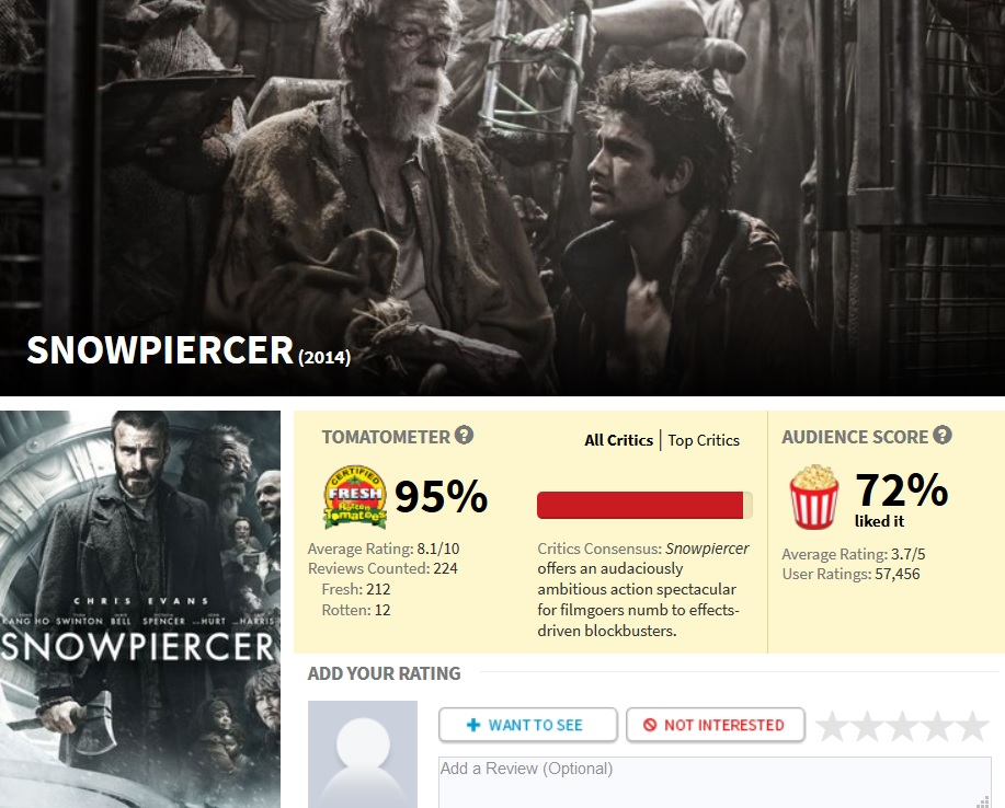 Snowpiercer official movie RottenTomatoes